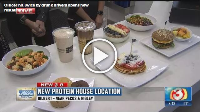 Retired Mesa Police Officer Tom Gaupel & Heidi Gaupel, open PROTEINHOUSE, Healthy Fit Kitchen with Karey Northington, in Gilbert, AZ.